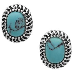 Chaps Turquoise Blue Oval Stud Silver Tone Earrings