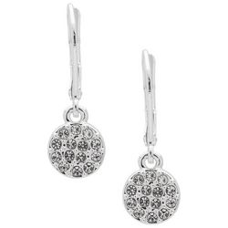 Chaps Pave Rhinestone Disc Earrings