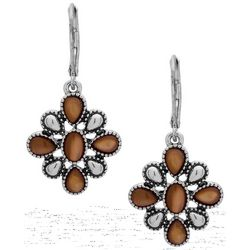 Chaps Textured Silver Tone Flower Drop Earrings