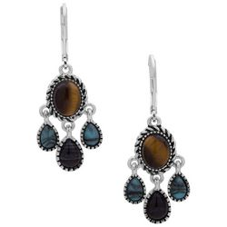 Chaps Tiger Eye Brown & Blue Chandelier Earrings