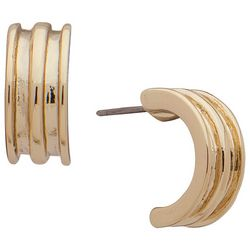 Chaps Ribbed Gold Tone Hoop Post Back Earrings