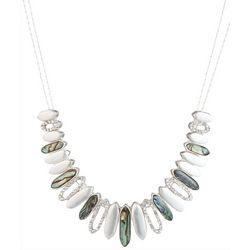 Chaps Silver Tone Abalone Bar Front Necklace