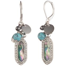 Chaps Silver Tone Abalone Shell Cluster Drop Earrings