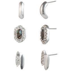 Chaps 3-pc. Silver Tone Abalone Shell Stud Earring Set