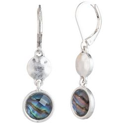 Chaps Silver Tone Abalone Shell Double Disc Earrings