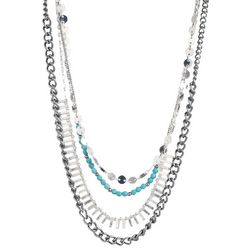 Chaps Multi Row Turquoise Blue Beaded Necklace
