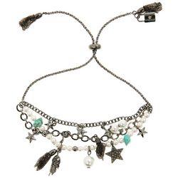 Chaps Silver Tone Faux Pearl Charm Slider Bracelet