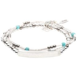 Chaps Three Row Turquoise Blue Bead Stretch Bracelet