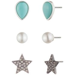 Chaps 3-pc. Silver Tone Star Stud Earring Set