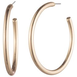 Chaps Gold Tone 28mm Post Back C Hoop Earrings