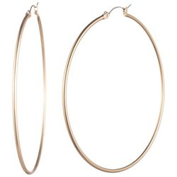 Chaps 60mm Shiny Gold Tone Hoop Earrings