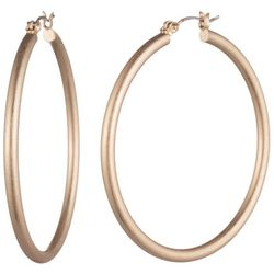 Chaps Gold Tone 25mm Round Click It Hoop Earrings