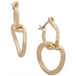 Chaps Gold Tone Double Drop Off Hoop Earrings