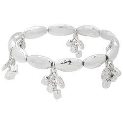 Chaps Silver Tone Dangle Charm Stretch Bracelet