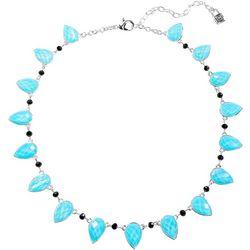 Chaps Aqua Facet Teardrop Collar Necklace