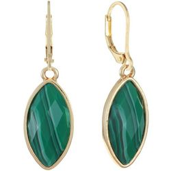 Chaps Green Facet Marquis Leverback Earrings