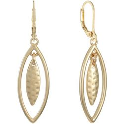Chaps Gold Tone Open Marquis Drop Earrings