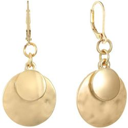 Chaps Gold Tone Double Disc Drop Earrings