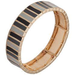 Chaps Gold Tone & Black Wide Stretch Bracelet