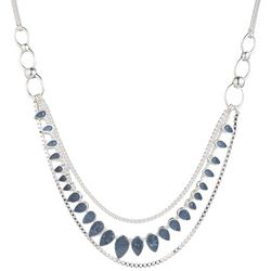 Chaps Silver Tone & Denim Blue Multi Row Frontal Necklace