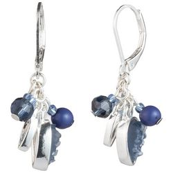 Chaps Silver Tone & Denim Blue Beaded Cluster Earrings