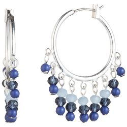 Chaps Silver Tone & Blue Beads Click It Hoop Earrings