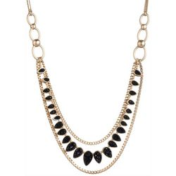 Chaps Gold Tone & Jet Black Multi Row Frontal Necklace