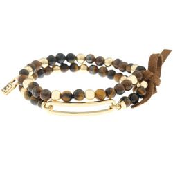 Chaps Beads & Gold Tone Stretch Bracelet