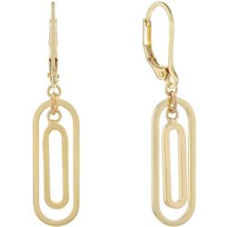 Chaps Gold Tone Double Oblong Ring Drop Earrings
