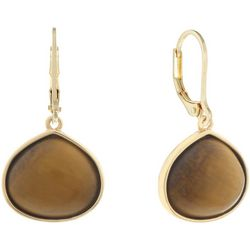 Chaps Gold Tone Tigers Eye Teardrop Earrings