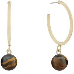 Chaps Tigers Eye Bead Drop Gold Tone Hoop Earrings