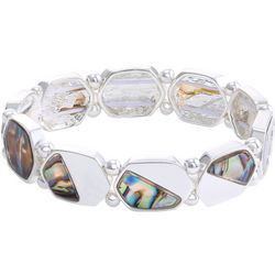 Chaps Abalone Shell & Silver Tone Stretch Bracelet
