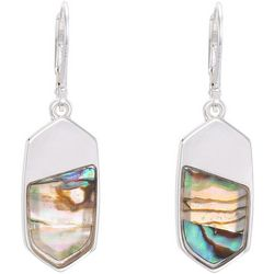 Chaps Abalone Shell & Silver Tone Leverback Earrings