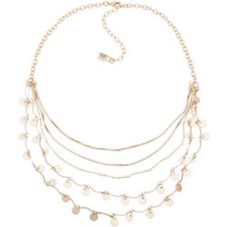 Chaps Shaky Discs 5 Row Gold Tone Necklace