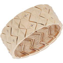 Chaps Rhinestone Embellished Gold Tone Stretch Bracelet