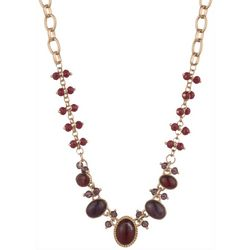 Chaps Burgundy Red & Bead Collar Necklace