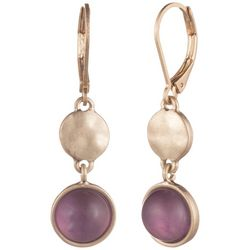 Chaps Gold Tone Double Drop Leverback Earrings