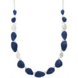 Chaps Sodalite Blue Stones Silver Tone Collar Necklace