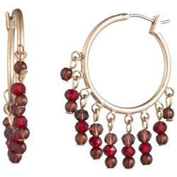 Chaps Gold Tone & Red Shaky Beads Click It Hoop Earrings