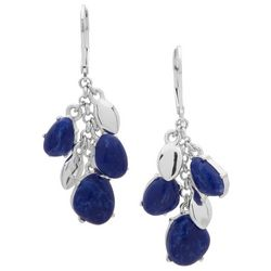 Chaps Sodalite Blue Silver Tone Cluster Earrings