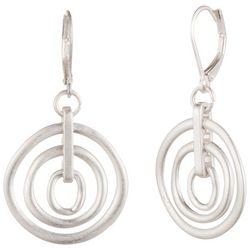 Chaps Silver Tone Orbital Rings Leverback Earrings