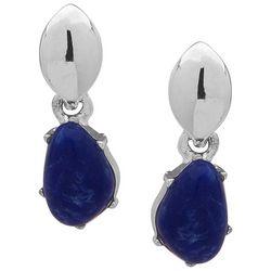 Chaps Polished Silver Tone Sodalite Blue Post Earrings