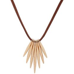 Chaps Gold Tone Bars Pendant Leather Necklace