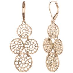 Chaps Gold Tone Round Open Work Leverback Drop Earrings