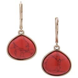 Chaps Gold Tone & Red Teardrop Earrings
