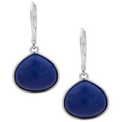 Chaps Silver Tone & Blue Teardrop Earrings