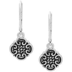 Chaps Textured Silver Tone Pattern Drop Earrings