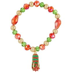 Brighten the Season Poinsettia Flip Flop Charm Bracelet