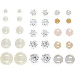 Bay Studio 15 Pr CZ-Faux Pearl-Ball Stud Earring S