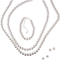 Bay Studio 5 Pc Silver Ball Bead Necklace Set